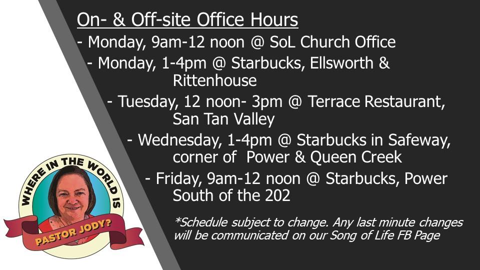 Pastor Jody's Offsite Office Hours